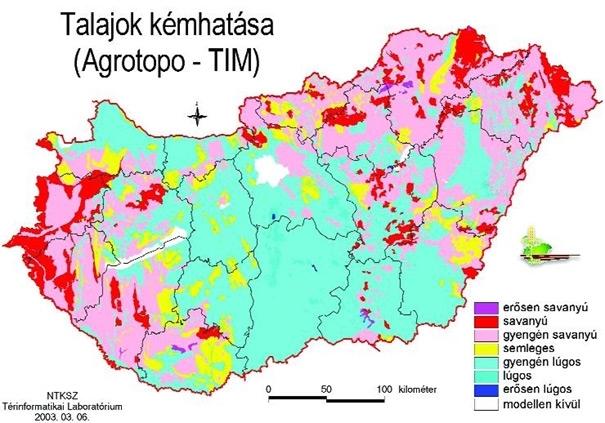Országos talaj kémhatás, PH érték talaj